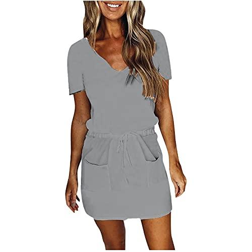 Liably Vestido de verano para mujer, informal, monocolor, con cordón, cintura alta, manga corta, minivestido, elegante, moderno, para fiestas, negro, blanco, azul, gris gris XL