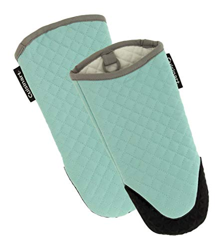 Cuisinart Silicone Oven Mitts 2pk  Heat Resistant Quilted Oven Gloves to Safely Handle Hot Cookware  Soft Insulated Deep Pockets NonSlip Grip and Convenient Hanging Loop  Pastel Turquoise