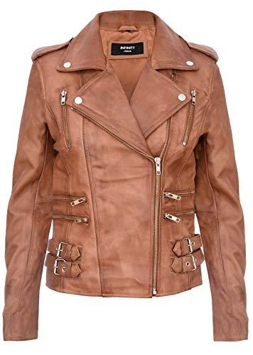 Infinity Leather Damen Retro Bräunen 100% Nappaleder Bikerjacke 4XL