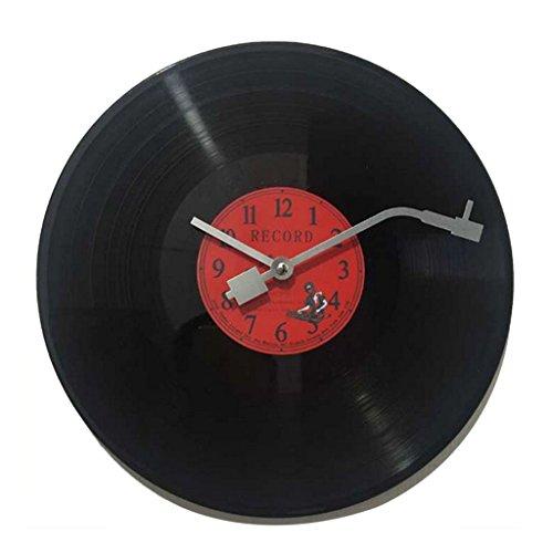 orologio vinile D DOLITY Orologio da Parete CD Vinile Disco Ornamenti Casa Adatto per Regalo Musicale Amanti Rotondo - Rosso