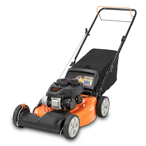 mulcher mowers BLACK+DECKER 21 Inch 140cc 3-in-1 Gas Powered Front Wheel Drive Walk Behind Push Mower - Side Discharge, Mulching, and Bagging Capabilities, Black and Orange
