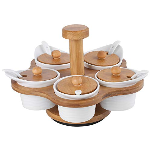 TOOGOO 5 Pcs Ceramic Condiment Pots with 360° Rotatable Rack & Lids and Spoons Spice Jars, Sugar Bowl Salt Seasoning Container