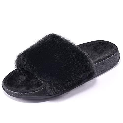Puxowe Pantofole Peluche da Donna Punta Aperta Invernali Pelliccia Ciabatte Comode Eleganti Morbido Antiscivolo Casa Pelose Slippers Slide 41 EU Black