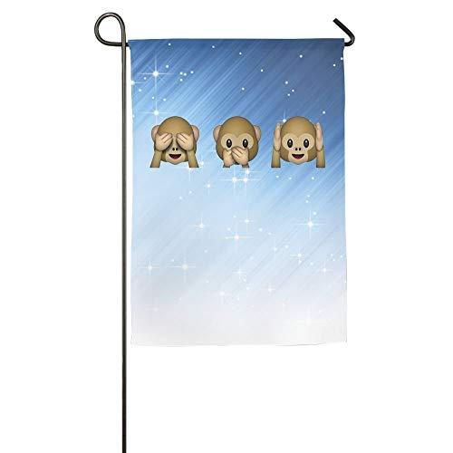 UPNOW Monkey See Hear Speak No Evil Emoji Welcome Family Party Flag Patio Garden Flag Decor