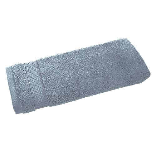 Price comparison product image iDesign Hand Towel,  Small Embellished Hair Towel Made of 100 Percent Cotton,  Soft Face Cloth for Face and Hands or for Shower and Bath,  Grey Blue