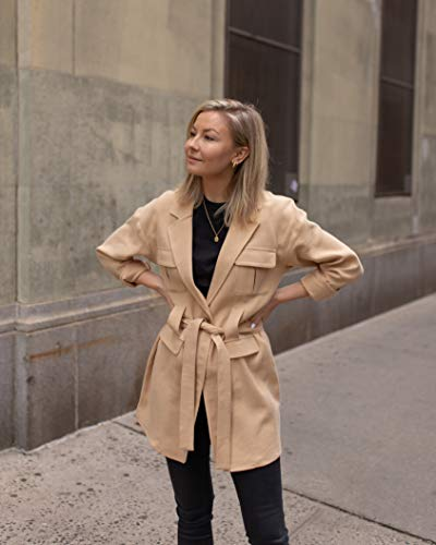 The Drop Women's Golden Sand Loose Tie-Front Utility Jacket by @laurie_ferraro