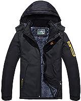 Winter Jacket Men Waterproof Outdoor Jacket Mens Fleece Sports Ski Jacket Warm Windproof Casual Hoodie Black Raincoat(Size:L)