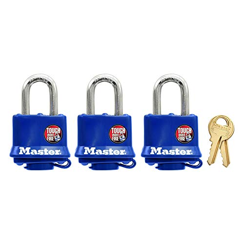 Master Lock 312TRI Laminated Padlocks with Blue Thermoplastic Shell, 1-9/16-inch, 3-Pack