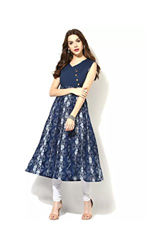 AnjuShree Choice Women's Stitched Cotton Anarkali Kurti Kurta S - 36 Blue