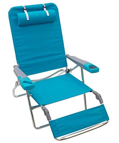Rio Brands Beach 5-Position Lay Flat Extra Wide Foldable Beach Lounger, Light Blue, 14'
