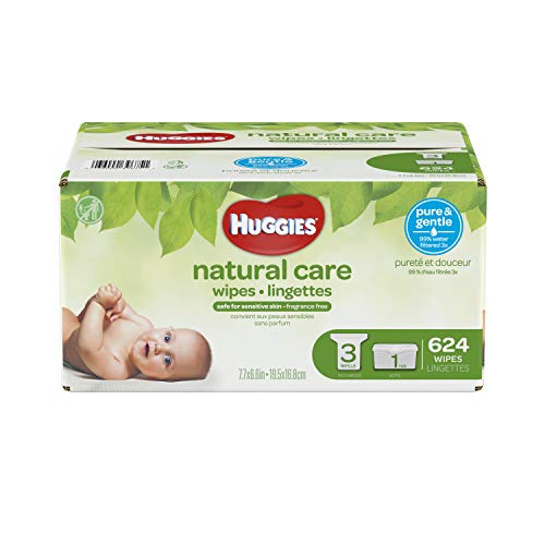 HUGGIES Natural Care Unscented Baby Wipes, Sensitive, 3 Refill Packs Plus Refillable Tub, 624 Count Total