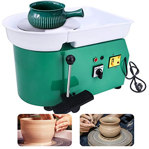 Yofuly 350W Electric Pottery Machine with 25cm Table Wheel, Equipped with Stainless Steel and Wood Forming Tool Set, for DIY and Ceramic Craft