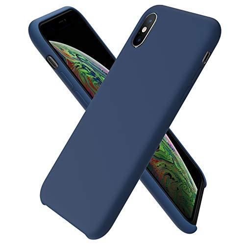 ORNARTO kompatibel mit iPhone XS/X Silikon Hülle, iPhone XS Hülle Ultra Dünne Flüssig Silikon Handyhülle Schutz für iPhone XS/X (2018) 5,8 Zoll -Dunkelmarine