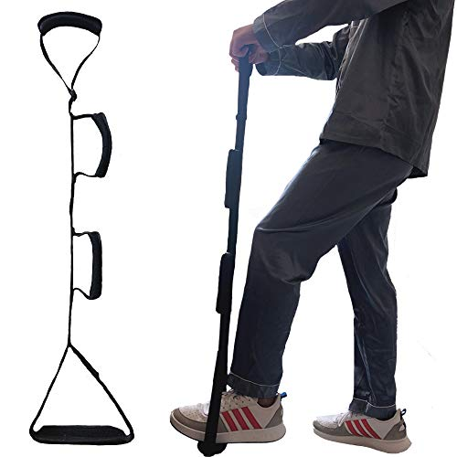 Fanwer Leg Lifter Strap(Multi-Loop Adjustable 35' - 44')- Rigid Foot Loop & Hand Grip, Padded Handgrips & Soft Foot Pad, Mobility Aid for Hip & Knee Replacement, Elderly, Handicap, Disability