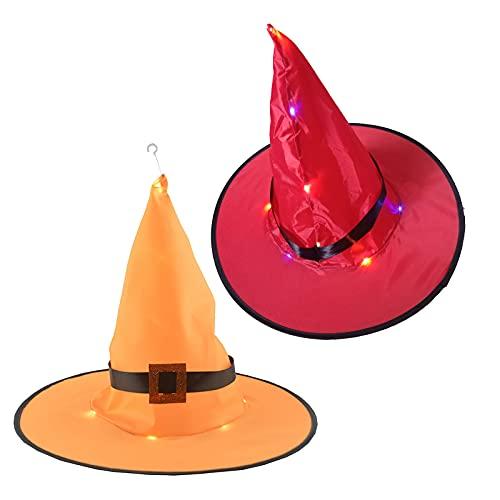 routinfly Sombrero unisex de Halloween, sombrero de Halloween, sombrero de Halloween, sombrero de fiesta de danza, disfraz de bruja con iluminación, 4 unidades