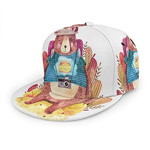 Sombrero de oso lindo gorra de béisbol para mujeres y hombres, mochila divertida, para cámara, viajes, campamento, hip hop, gorra de camionero, ala plana