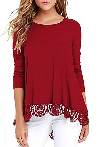 Odosalii Camiseta de verano de manga corta para mujer, cuello redondo, encaje, túnica, blusa, Mangas largas de color rojo., M