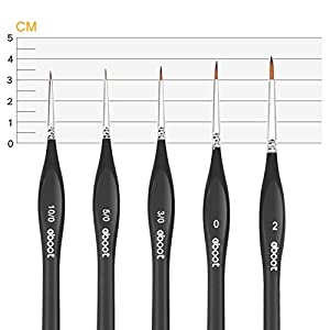 eBoot Paint Brushes Set Artist Paint Brushes Painting Supplies for Art Watercolor Acrylics Oil, 5 Pieces (Black)