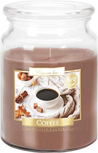 Bispol Große Duftkerze im Glas mit Deckel, 100 Stunden brennend, Durchmesser 9,9 cm und Höhe 14 cm, Duft: Kaffee
