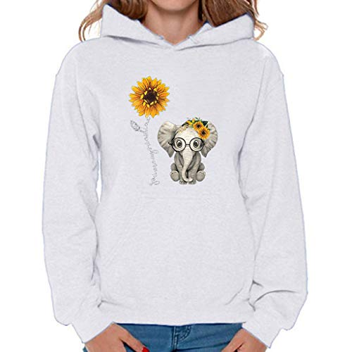 EDC Womens Hooded Sweatshirt with Pockets Sunflower Elephant Print Long Sleeve Pullover Drawstring Hoodies Tops Blouse White