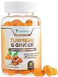 Turmeric Curcumin Gummies with Ginger, Extra Strength Chewable Vitamins Gummy, Best Vegan Joint Support Turmeric Pills - Joint Comfort for Men & Women - 60 Gummies