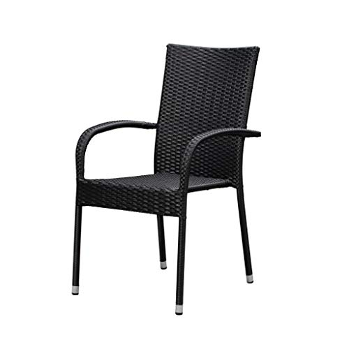 Patio Sense Morgan Outdoor Wicker Chair | Set of 4 | Black | Steel Powder Coated Frame | No Assembly | Lightweight and Portable | Zero Maintenance | For Indoors, Porch, Backyard, Lawn, Garden, Balcony