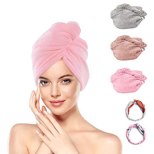 GEEKHOM – Juego de 3 toallas turbante con botón de microfibra para secado rápido, absorbente, con 2 cintas para el pelo