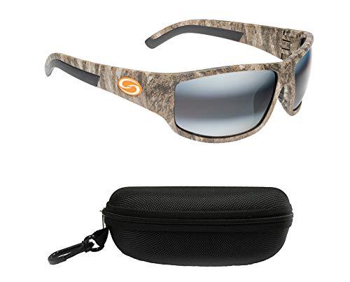 Strike King S11 Caddo Polarized Sunglasses, UVA/UVB Protection, Mossy Oak Frame, Dark Amber Brown/Amber Lens with Black Case