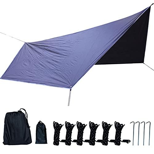 0℃ Outdoor Toldo de Refugio Impermeable 3,6x2,8 M, Lona Suelo Camping Anti-UV con Palo de Aluminio y Clavos de Carpa para Senderismo Mochila Acampar Picnic Playa al Aire Libre