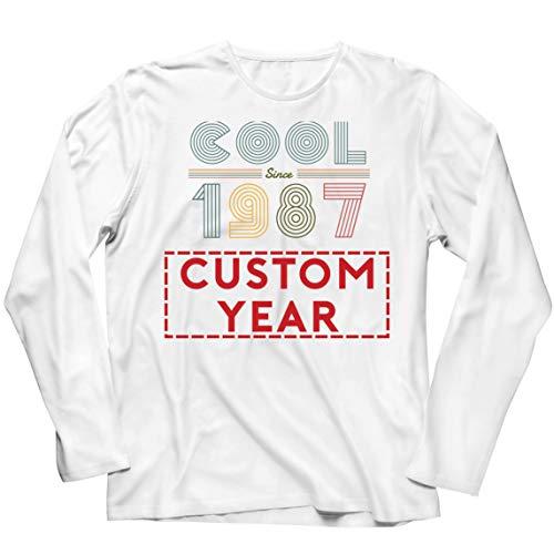 lepni.me Camiseta de Manga Larga para Hombre Genial Desde Cualquier año Personalizado de los 80 y 90 Fiesta Diseño Retro Clásico (XXX-Large Blanco Multicolor)