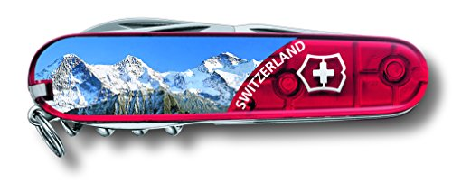 Victorinox Taschenmesser Climber JUNGFRAU (14 Funktionen, Schere, Mehrzweckhaken, Korkenzieher), rot mit Abbildung Jungfrau