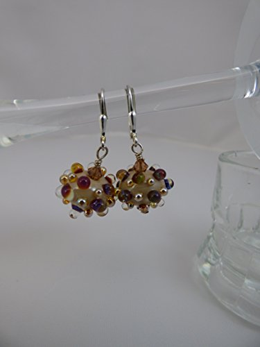Beige Bumpie Artisan Lampwork Earrings with Swarovski Crystal Accents and Sterling Silver Leverback Ear Wires