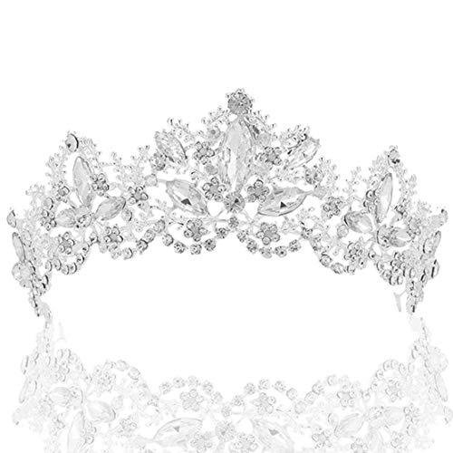 Coucoland Braut Tiara Hochzeit Krone Luxus Prinzessin Diadem Kristall Geburtstag Krone Damen Kostüm Accessoires (Stil 2 - Silber)