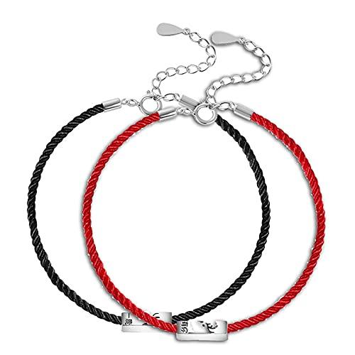 wangk S925 Plata esterlina Yilu te Tiene un Brazalete Femenino japonés y Coreano Moda Verano Neto Rojo Nueva joyería Regalo del Día de San Valentín