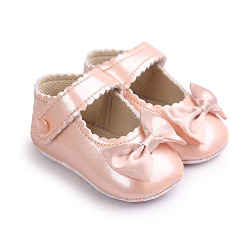 Chaussures en cuir doux et antidérapantes avec Bowknot pour 0-18 mois Printemps été Automne Usage (Champagne, L)