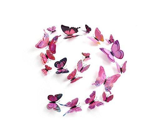 Madaye 12 Stereo zweischichtigen Kreativ 9D Schmetterling Wandsticker Schlafzimmer Fenster