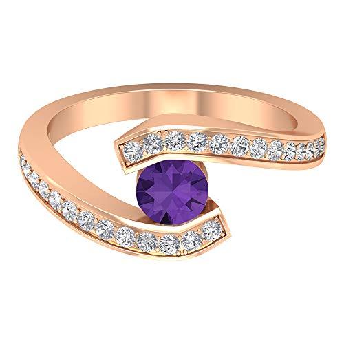 Anillo de compromiso de derivación, anillo de lavanda creado en laboratorio de 1 quilate, anillo de compromiso de diamantes HI-SI, anillo solitario con piedra lateral, 18K Oro rosa, Size:EU 61