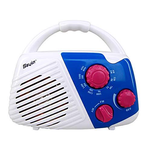 LYXMY Wasserdichtes Dusch-Radio, Einsteck-Knopf am oberen Griff, Lautsprecher Musik AM FM für Dusche, Nachttisch und Garage, batteriebetrieben, weiß/blau, Free Size