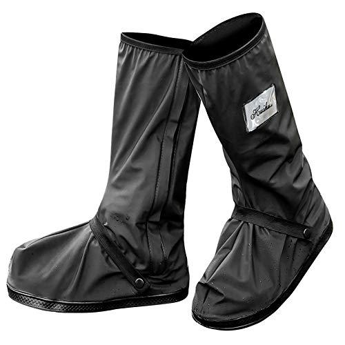 Protector de Zapatos Impermeable Cubiertas de Zapatos a Prueba de Agua Lluvia Nieve Cubrebotas con Cremalleras Resistentes y Tacones Reflectantes para Hombre o Mujer -Exteriores...