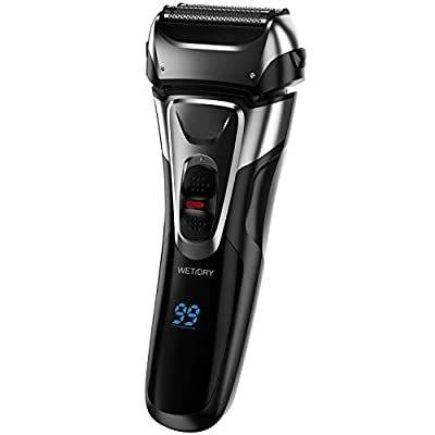 Wise Tiger Foil Electric Shaver with Trimmer for Men, IPX7 Waterproof Wet Dry Cordless Razor, Charge 1.5H Work 99 Mins, Plug and Play, USB Quick Rechargeable LCD Display Battery from Wise Tiger