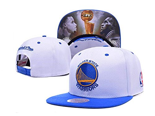 Unisex Adjustable Fashion Leisure Baseball Hat Golden State Warriors Snapback Dual Colour Cap-White Print