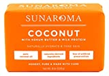 Sunaroma Coconut Kokum Butter Soap (8 oz) - Natural Soap Brightens and Tones Dull Skin - Kokum Butter and Milk Protein Soothe and Moisturize the Complexion - Paraben and Sulfate Free, Made in the USA