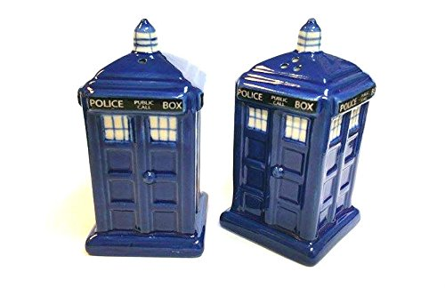 Salt and Pepper Police Box Tardis - (Met Police Box as used in Dr Who) - Stoneware