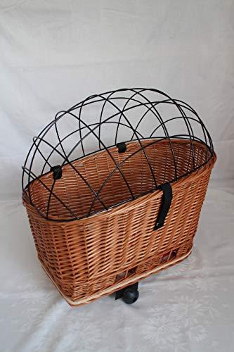 Marcus-Hundefahrradkorb XXL für Gepäckträger aus Weide mit Metallgitter und Kissen Gepäckträgerkorb Einkaufskorb