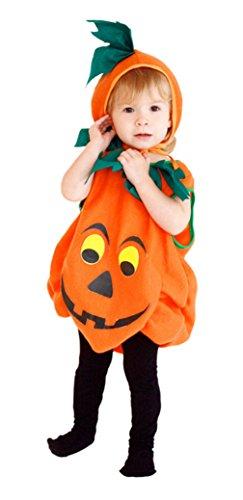 Agares Halloween Kostüm Kinder Kürbis Kostüm Kleinkind Grusel Kostüme Cosplay Karneval Fasching Bekleidung (3-4 Jahre Alt)