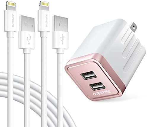 iPhone Charger Set 2 Pack Overtime Apple MFi Certified Lightning Cables with 1 Dual USB Wall product image