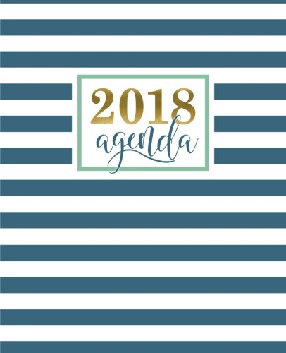 Agenda: 2018 Agenda semana vista español : 190 x 235 mm, 160 g m² : Moderno estampado de rayas geométricas en verde azulado: Volume 14 (Calendarios, agendas y organizadores personales)