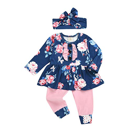 Gallity 3Pcs Baby Girls Floral Clothes Toddler Ruffle Flower Print Long Sleeve Flare Tunic Dress +Pants+ Headband Baby Girl Outfit Set (12-18 Months, Blue)