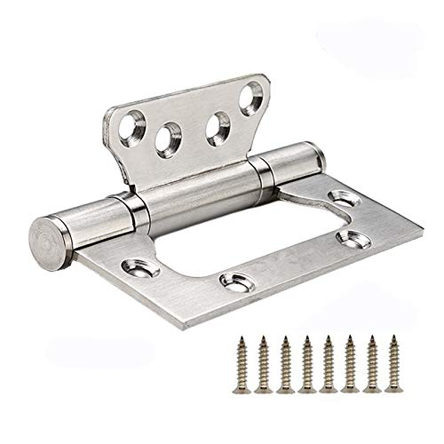 6 Pack Non-Mortise Door Hinges - Easy to Install, 4' × 3' Stainless Steel Door Hinges - Smooth Movement and Heavy Duty, Silver
