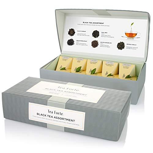 Tea Forte Petite Presentation Box Sampler with 10 Handcrafted Pyramid Tea Infusers, Black Tea Assortment